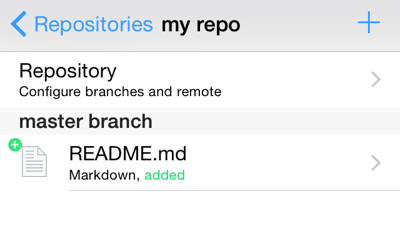 Screenshot showing README.md as only file in 'my repo'